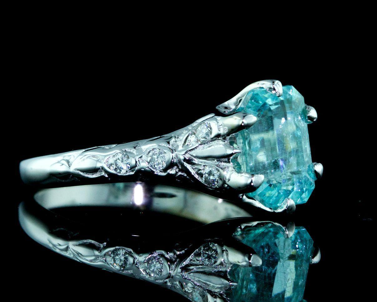 Vintage Rare Vivid Paraiba Tourmaline Diamond 18k White Gold Engagement Ring   Ebay