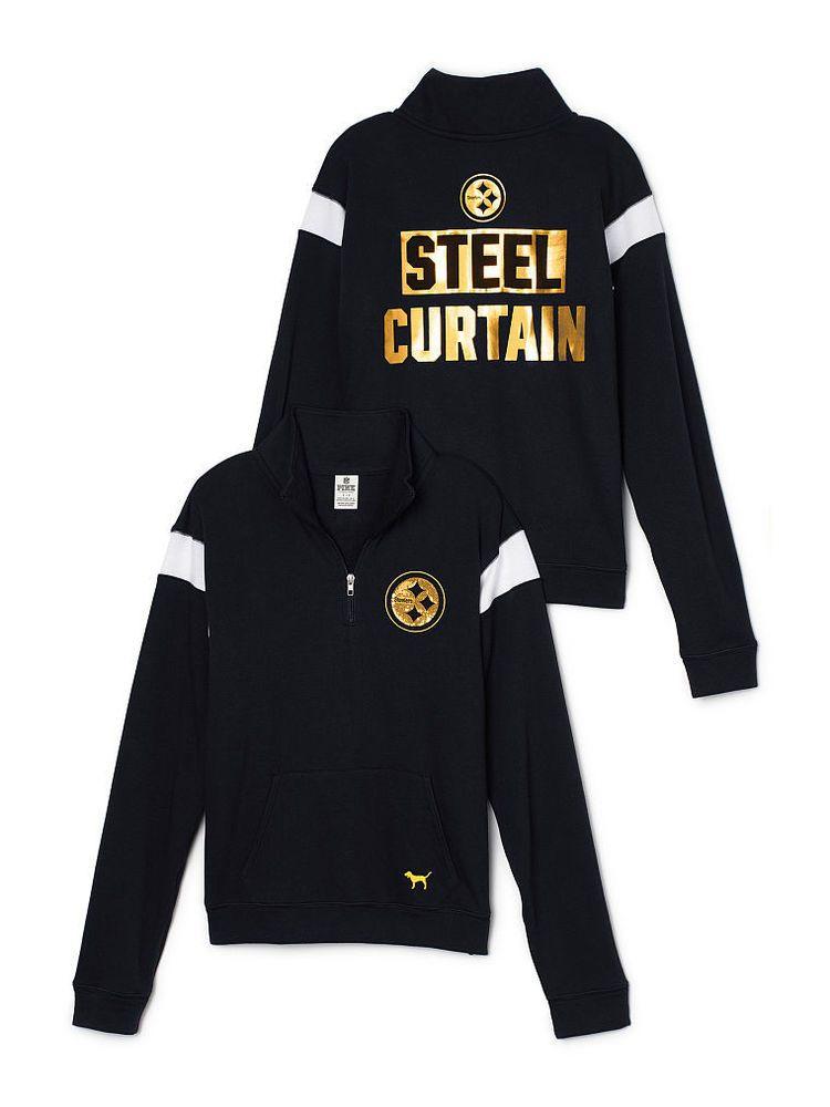 Victoria Secret Pink Pittsburgh Steelers Bling Boyfriend Half Zip Sweatshirt XS  #VictoriasSecret #SweatshirtCrew