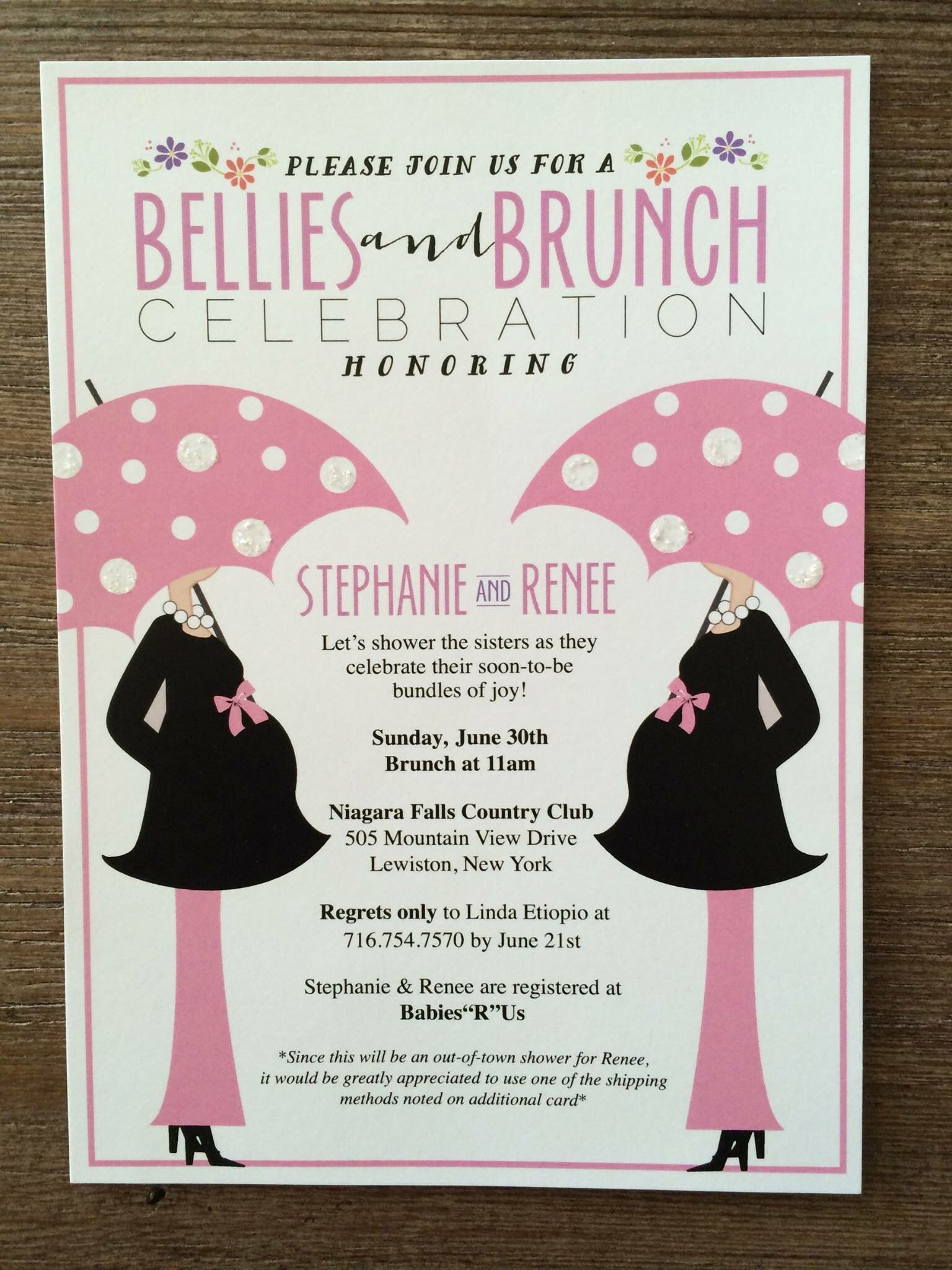 These Bellies Brunch Invitations Are Perfect For A Joint Baby Shower Contact My Menuista T Joint Baby Showers Double Baby Showers Baby Shower Invites For Girl