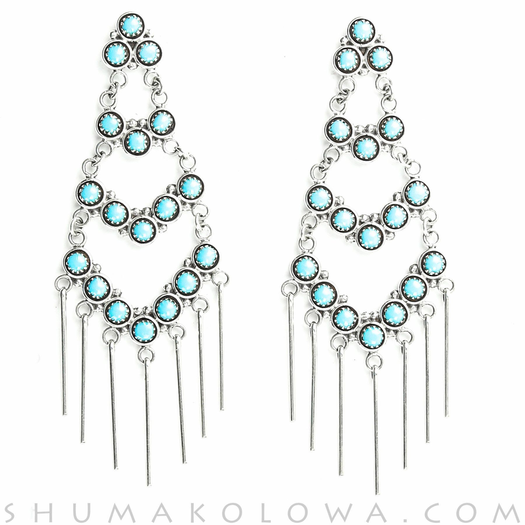 Turquoise Petit Point Dangle Earrings