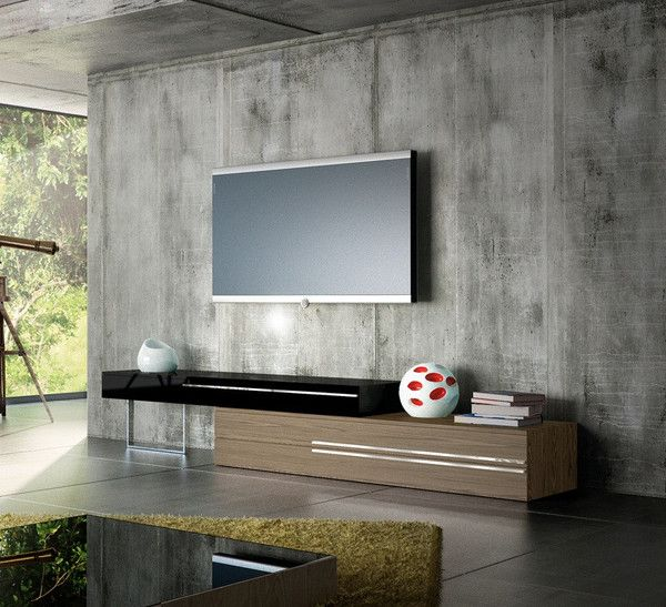 GRAMERCY STAND Walnut And Black Create A Wall Unit To Fit Any - Creative colorful tv unit