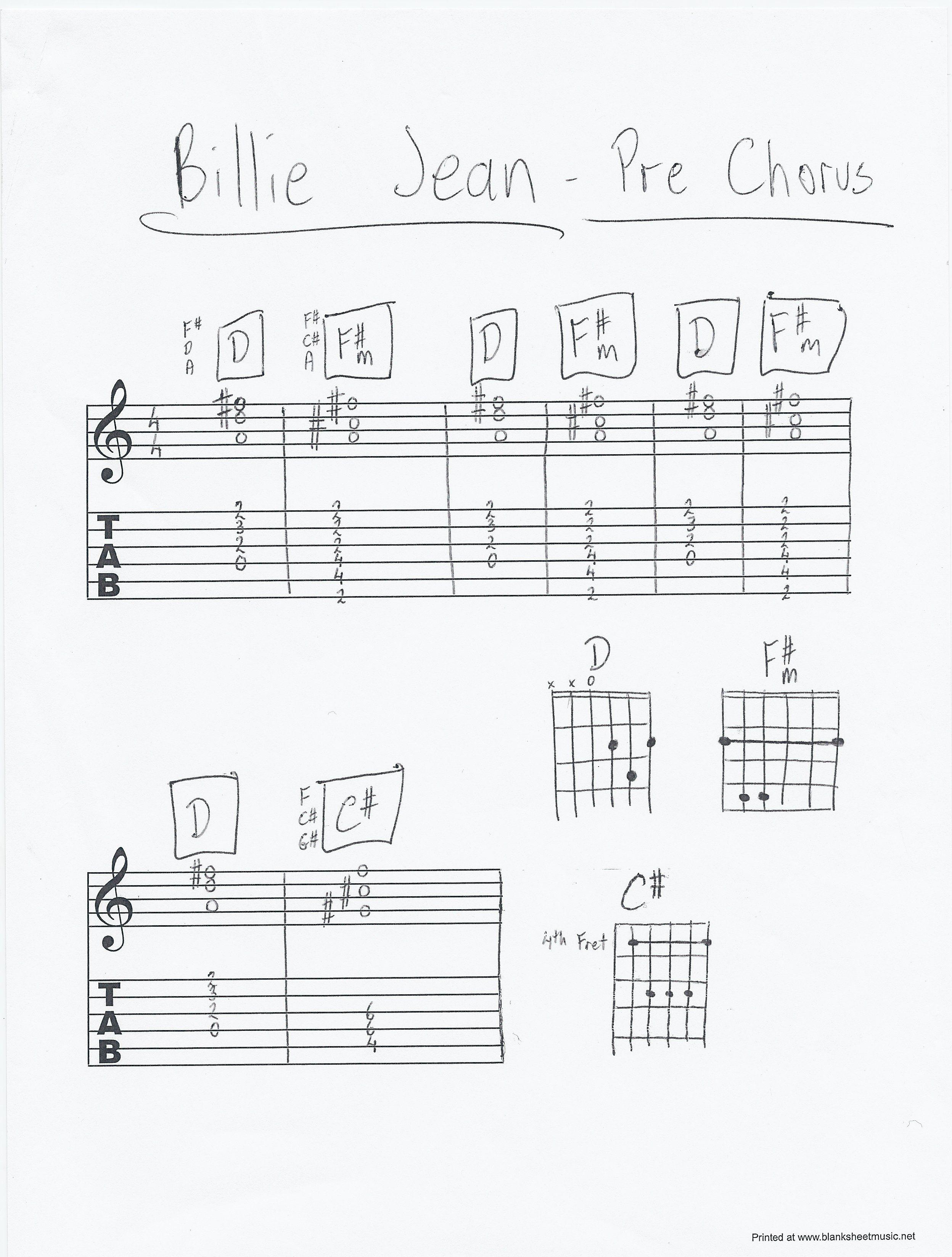 Billie Jean By Michael Jackson Prechorus Chords Guitar Piano