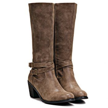 $36.90 Trendy Solid Color and Buckles Design Women's Chunky Heel Boots