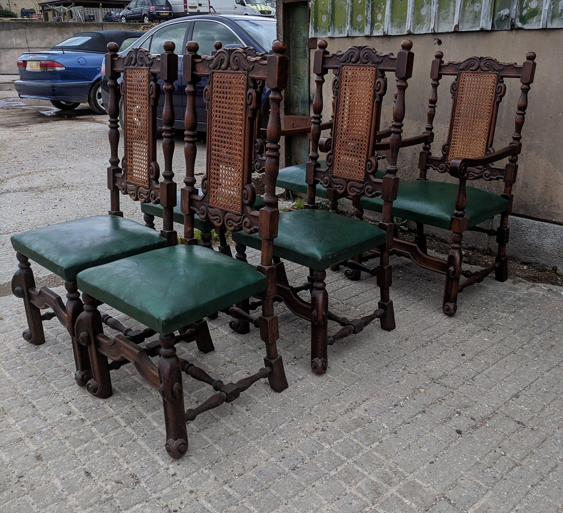 6 x antique c19th dutch oak farmhouse dining chairs