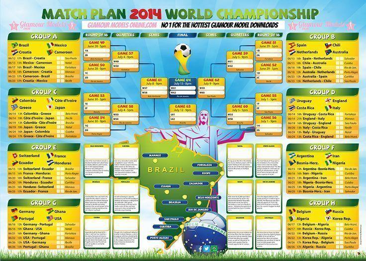 Free World Cup 2014 Wall Chart Check More At Fifa Worldcup Inf World Cup 2014 World Cup World Cup Fixtures