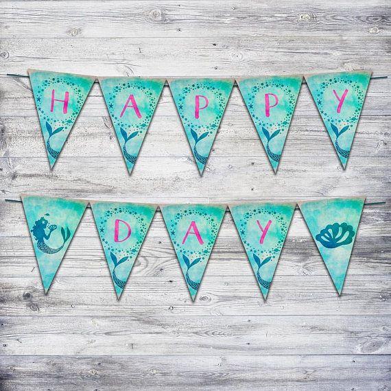 Printable Mermaid Banner Mermaid Party Decor Beach Birthday