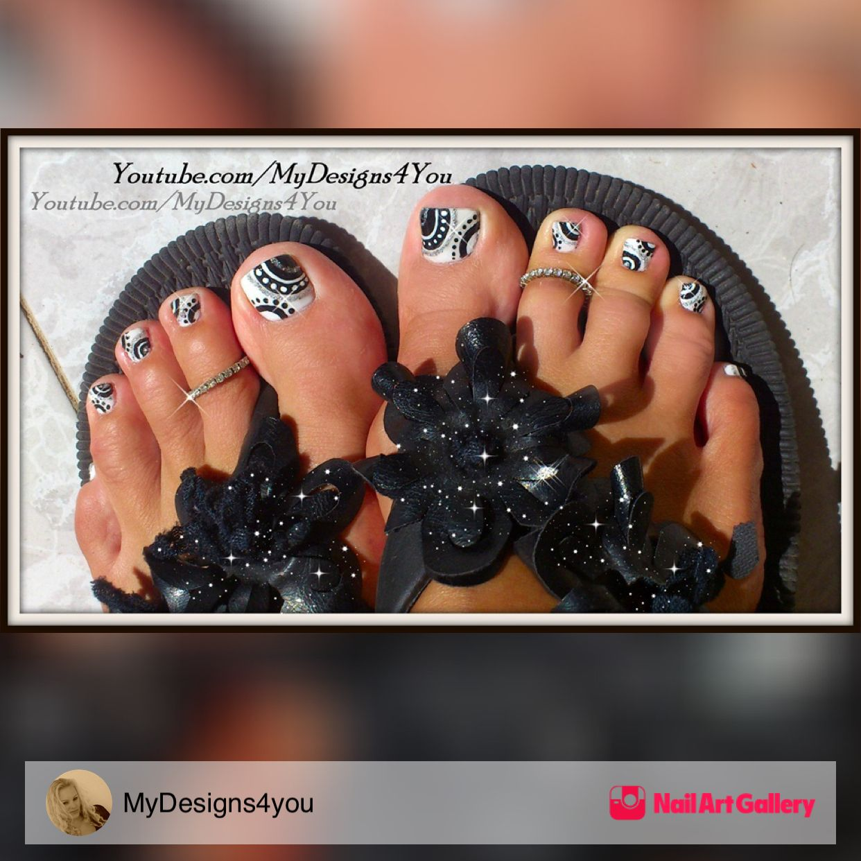 Black And White Toenail Design By Mydesigns4you Via Nail Art Gallery