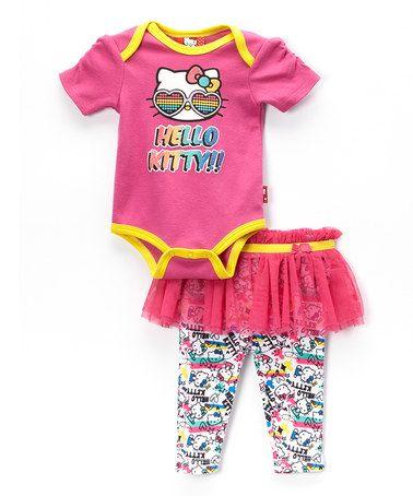 Fuchsia 'Hello Kitty' Bodysuit & Skirted Leggings - Infant #zulily #zulilyfinds
