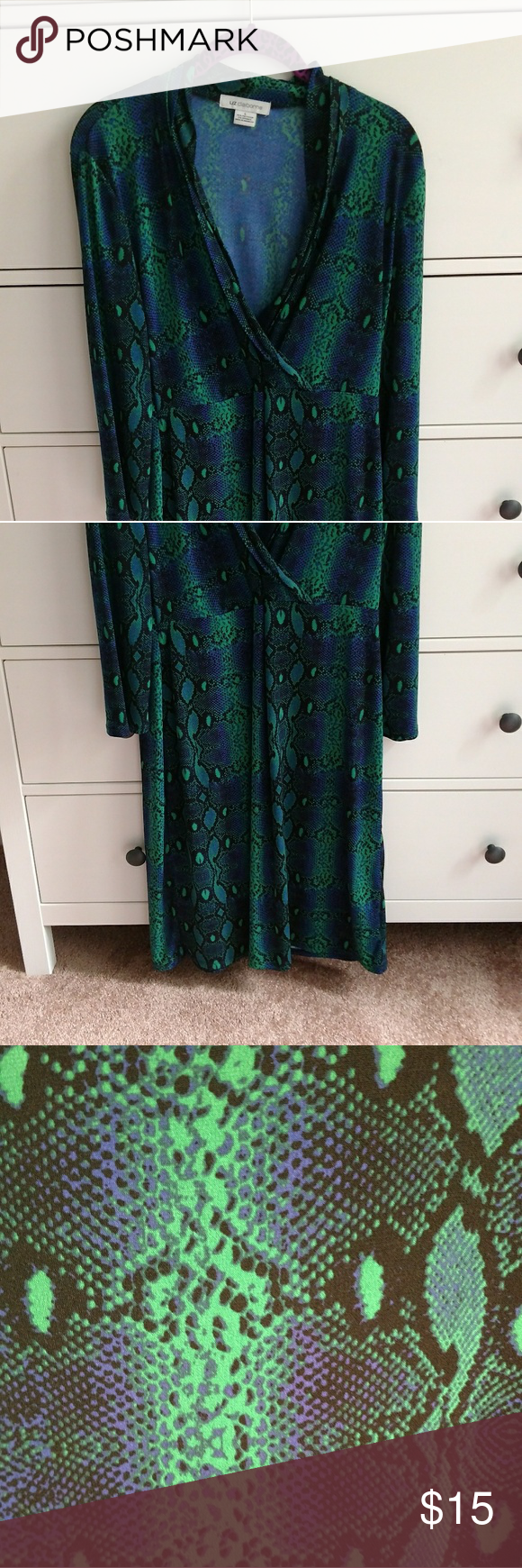 Green 2 piece dress  Liz Claiborne Snake Print Dress  Print Sleeve and To the