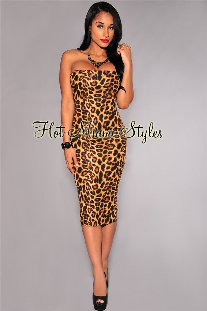 adce0dcccc4 Leopard Print Strapless Midi Dress in 2019
