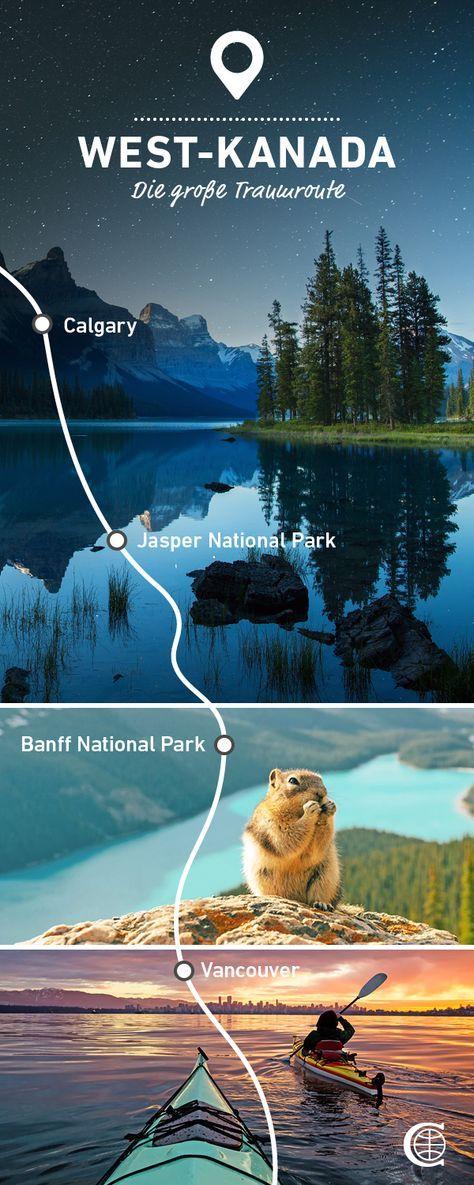 """Erlebt West-Kanada auf dieser 3-wöchigen Route. Jeder einzelne Kilometer ist ein Erlebnis: Von der pulsierenden Großstadt Vancouver über die """"Panoramastraße der Rockies"""", den Icefields Parkway, bis hin zur Cowboy-Stadt Calgary. #traumroute #routenvorschläge #routenvorschlägekanada #westkanada #mycanusa #travelalberta #hellobc #explorecanada #travelnorthamerica"""