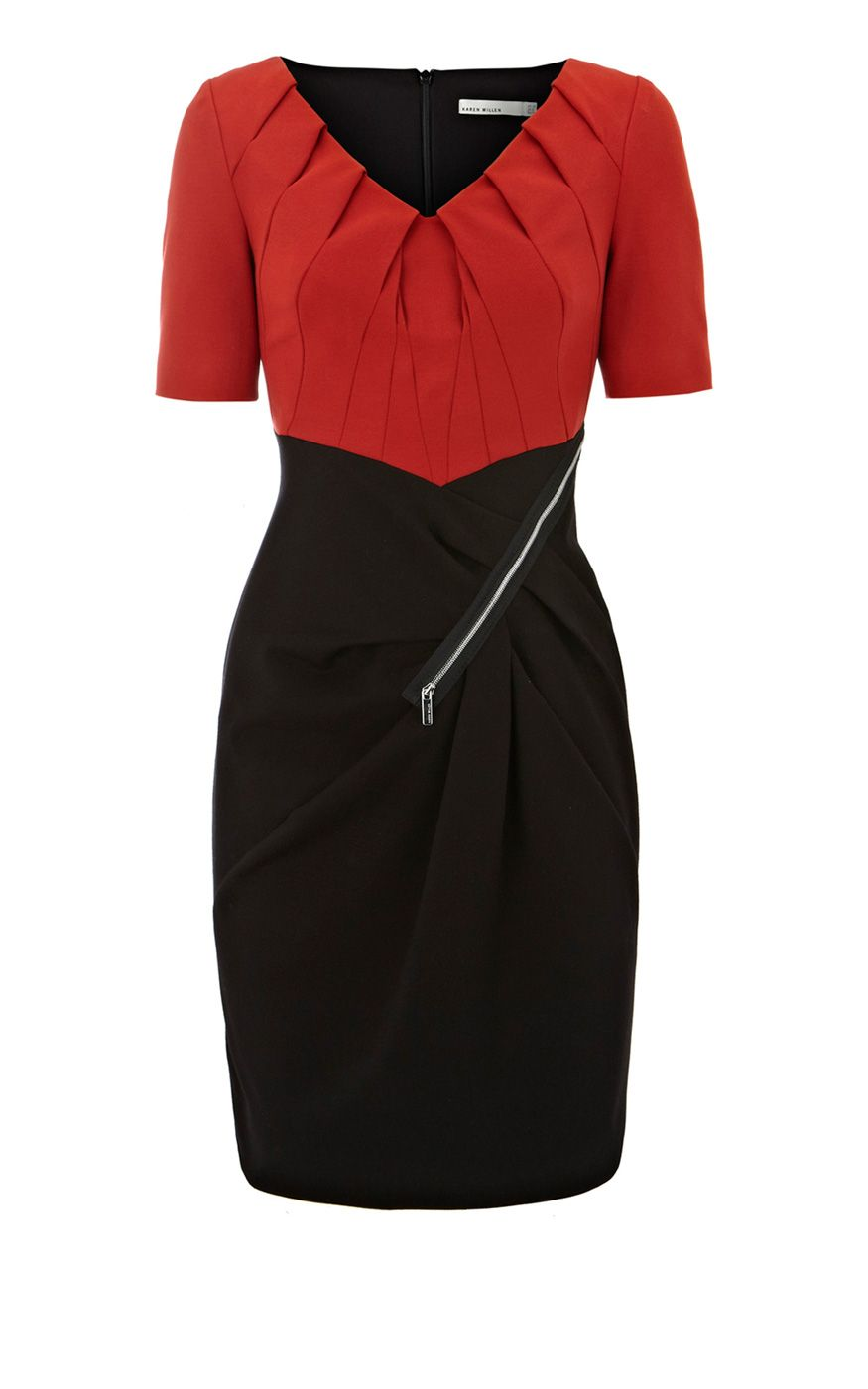 Karen Millen Colour Block mini Dress red and Black ,fashion karen millen outlet