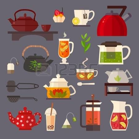 65474758-vector-concept-illustration-of-tea-party-tea-ceremony-with-icons-isolated-on-white-background-set-of.jpg (450×450)