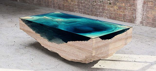 Coffee Table Made Of Layered Glass To Resemble The Depths Of The - Coffee table depth