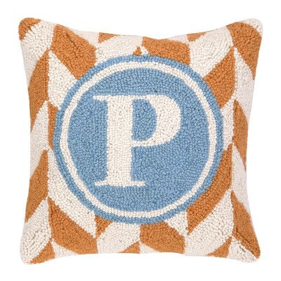 Peking Handicraft Monogram Letter P Hook Wool Throw Pillow