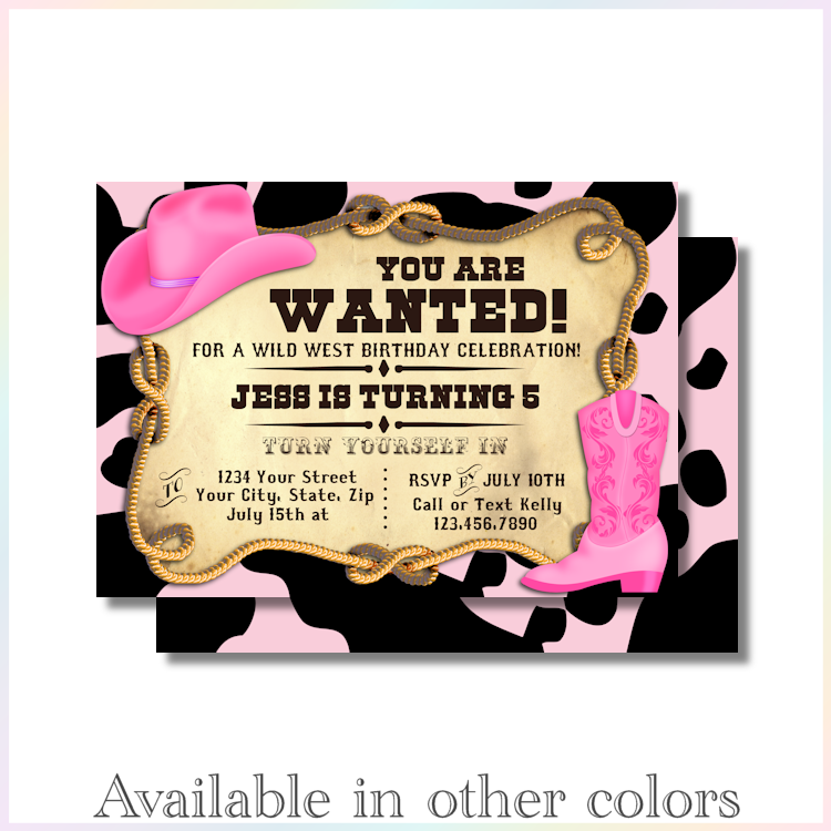 Personalized Printable Invitations | Cowboy | Cowgirl | Birthday ...