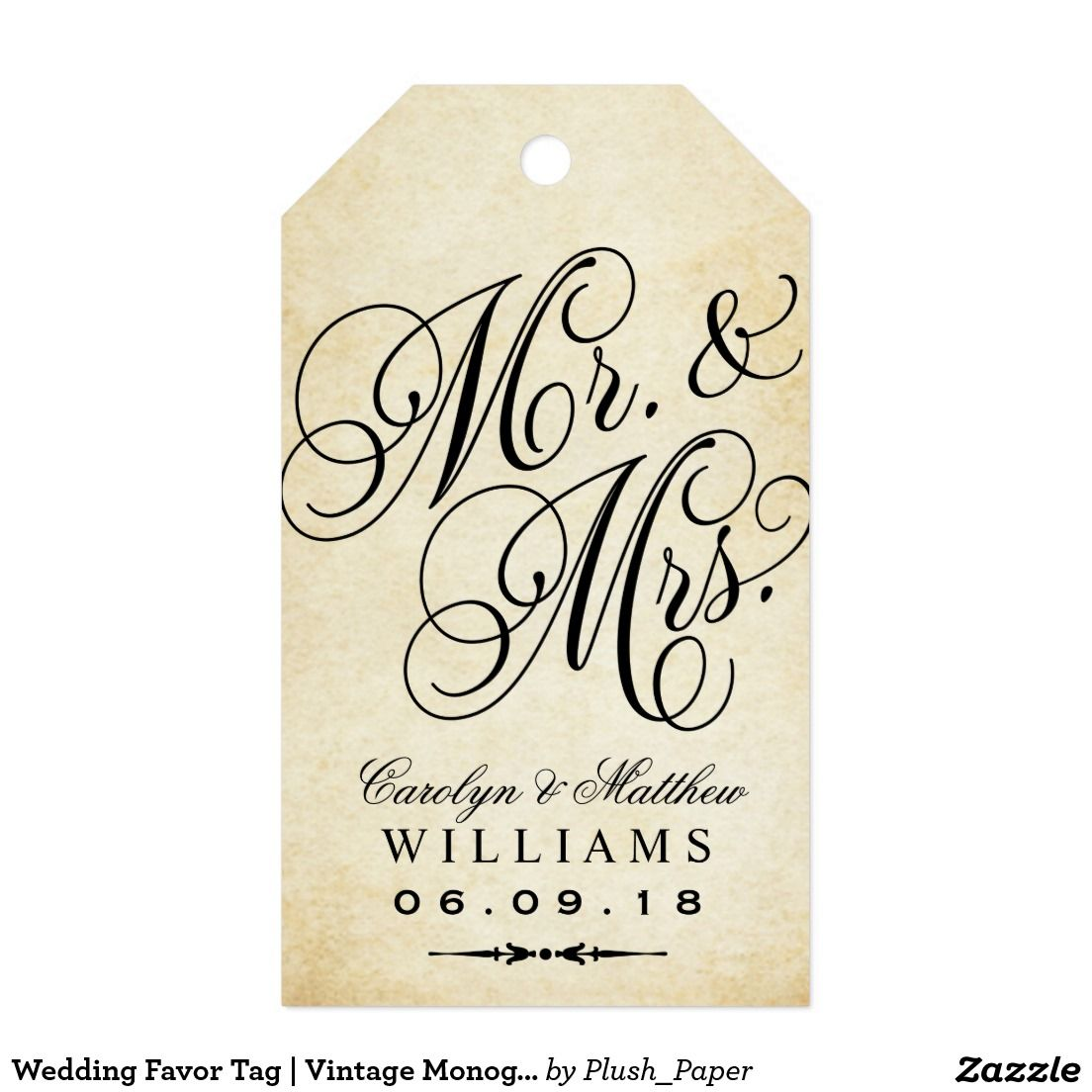 Wedding Favor Tag | Vintage Monogram Pack Of Gift Tags | Wedding ...