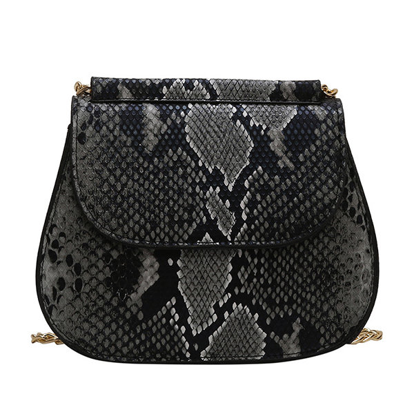 864fc1f0df91 Women Snake Pattern Saddle Bag PU Leather Chain Crossbody Bag ...