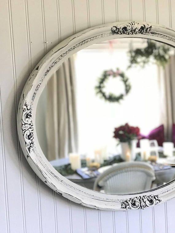 Oval Mirror Shabby Chic Mirror Bathroom Mirror Vanity Shabby Chic Bathroom Shabby Chic Shabby Chic Mirror