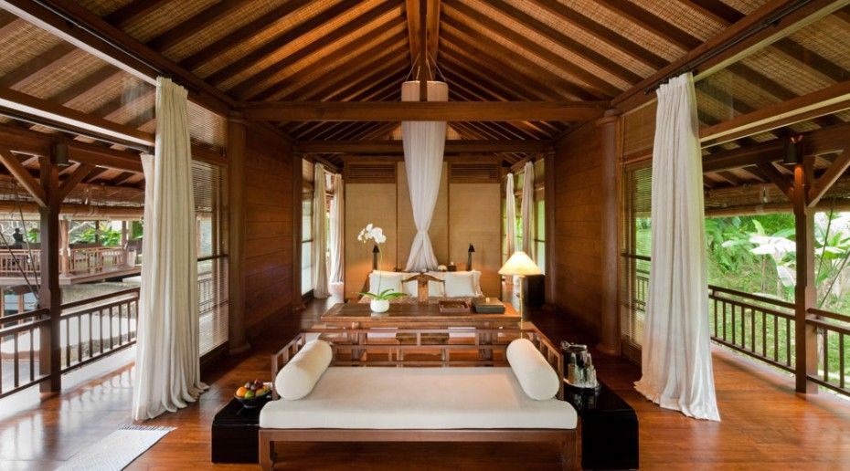 The Attractive Como Shambhala Resort in Ubud: Open Bedroom With White Sofa Bed In Como Shambhala Resort