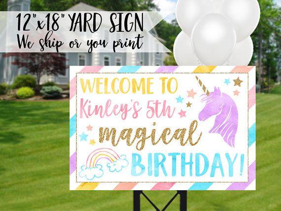 Unicorn Birthday Sign Unicorn Yard Sign Unicorn Sign Rainbow Sign