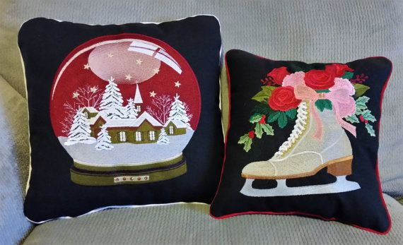 Christmas Holiday Embroidered Pillow Set   by DesertMoonQuiltCo