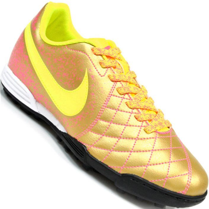4a57b20b04c82 Chuteira Nike Flare 2 TF Society Masculina Dourada   Amarelo Limão   Rosa