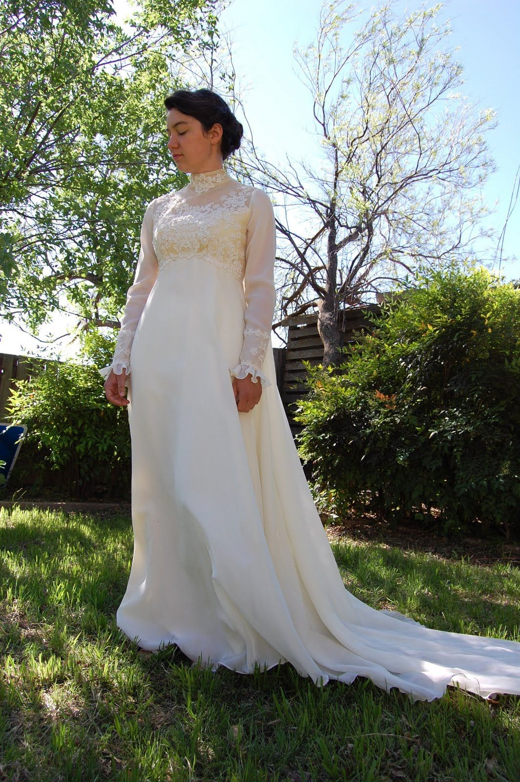 Long sleeved lace wedding dress  regency wedding dresses  regency style  Sunlight and Lace