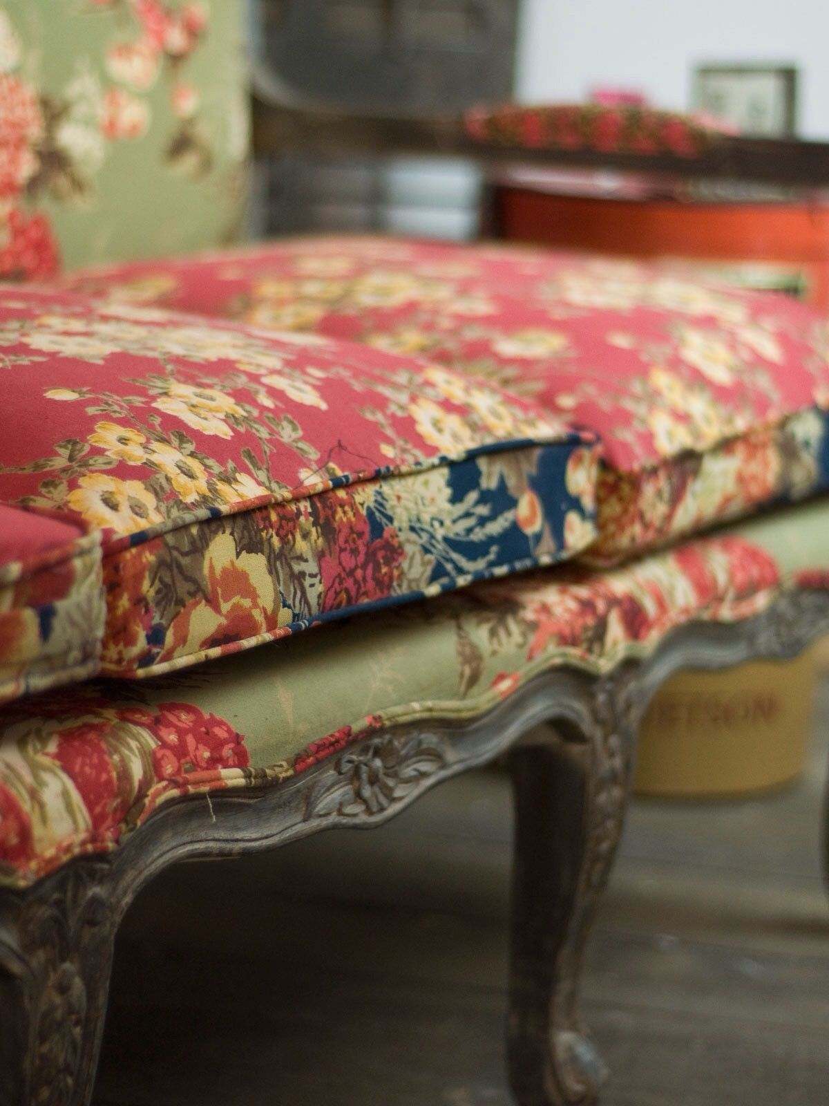 9fc3886177 Beautiful vintage floral patterns and colors on this boho shabby chic sofa!