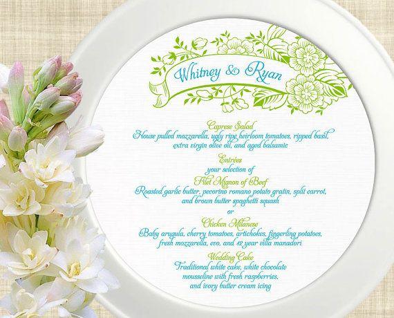 Printable Wedding Menu Card, Wedding Menu Template, DIY Wedding Menu - event menu template