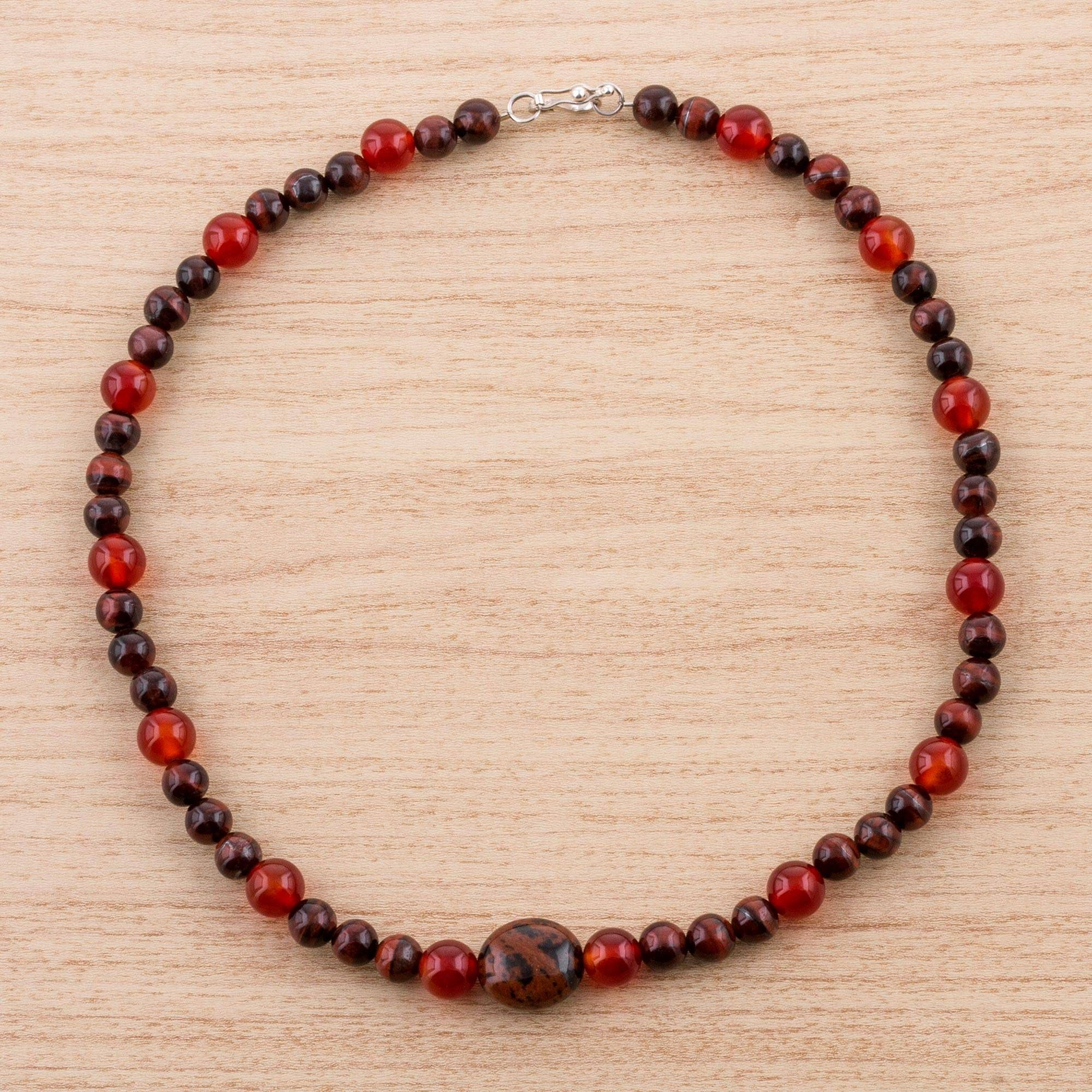 Obsidian Tigers Eye And Carnelian Beaded Pendant Necklace, Red Sensuality