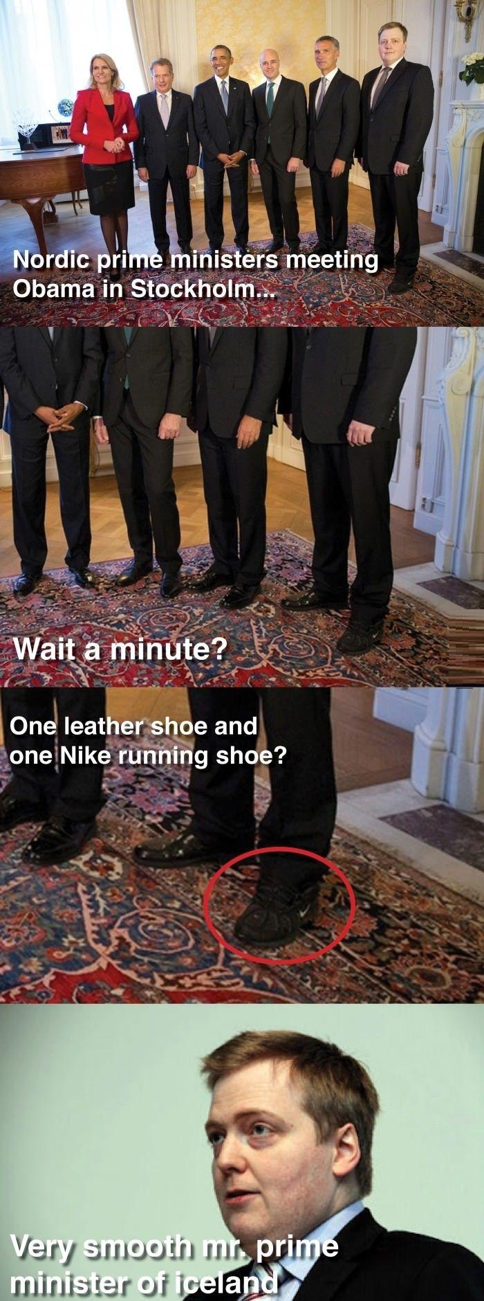 PM of Iceland shoe fail