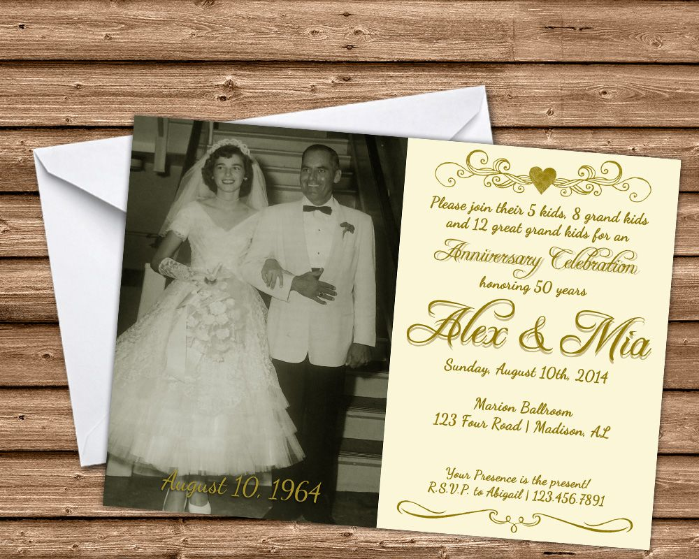 50th Wedding Anniversary Invitation Ideas: Ivory 50th Anniversary Party Invitations Wedding Golden