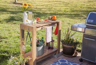 Desserte de jardin à faire soi-même avec du bois