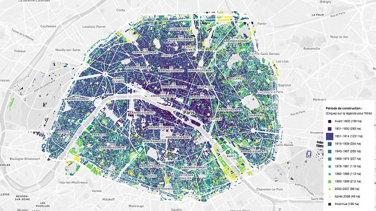 Découvrez l'âge des immeubles et bâtiments de Paris grâce à une carte unique