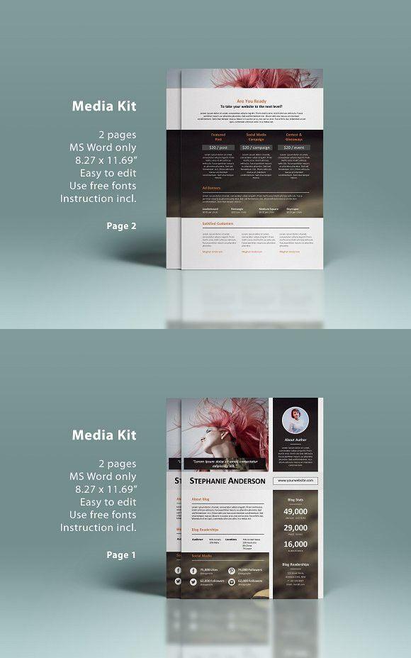 Ms Word Media Kit 2p Media Kit Media Kit Template And