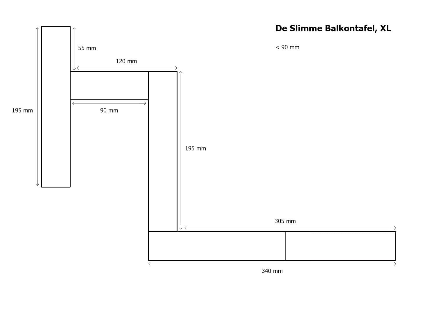 Photo of De Slimme Balkontafel XL, lengte 99 cm