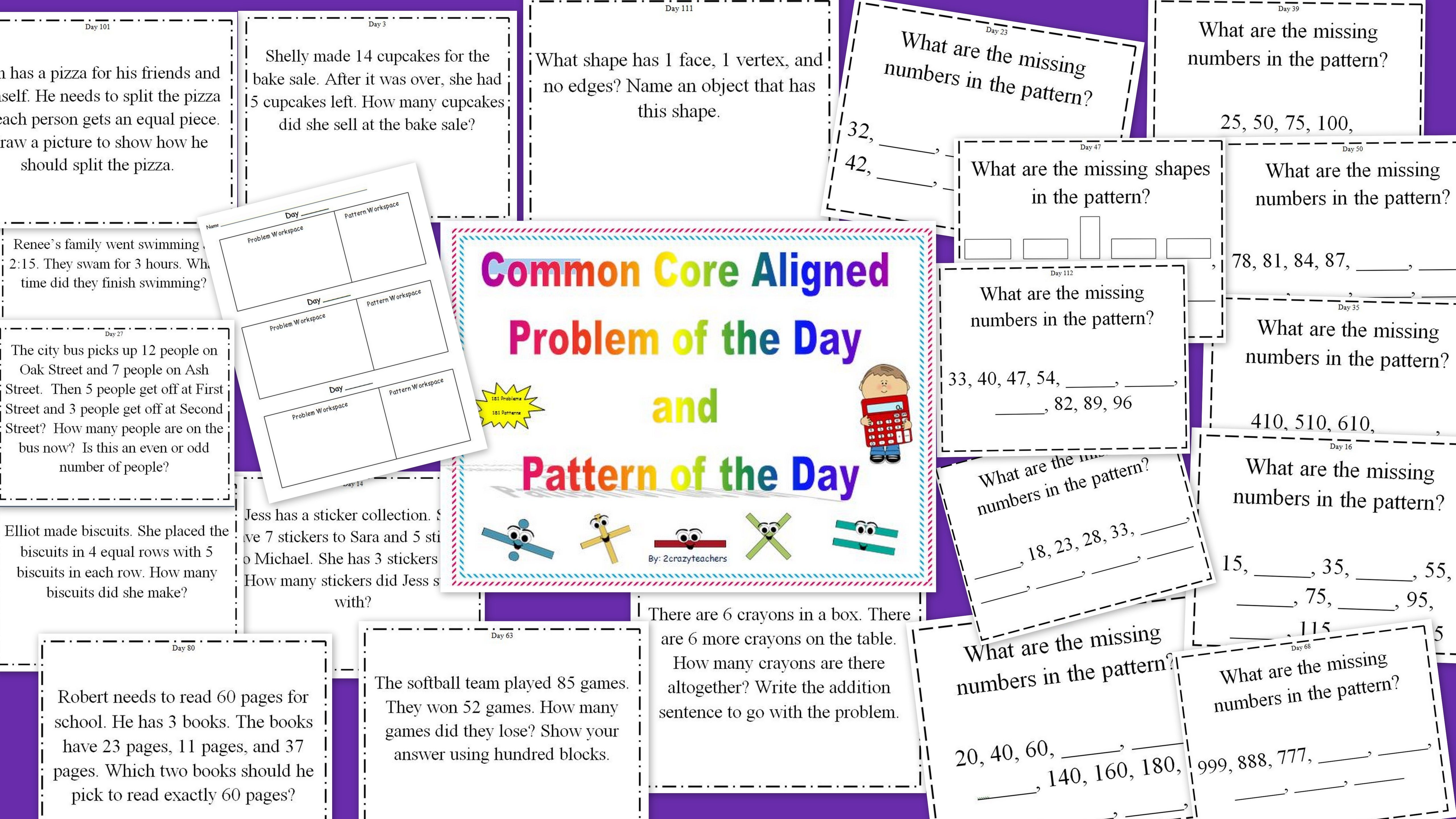 Common Core Aligned Problem Of The Day And Pattern Of The