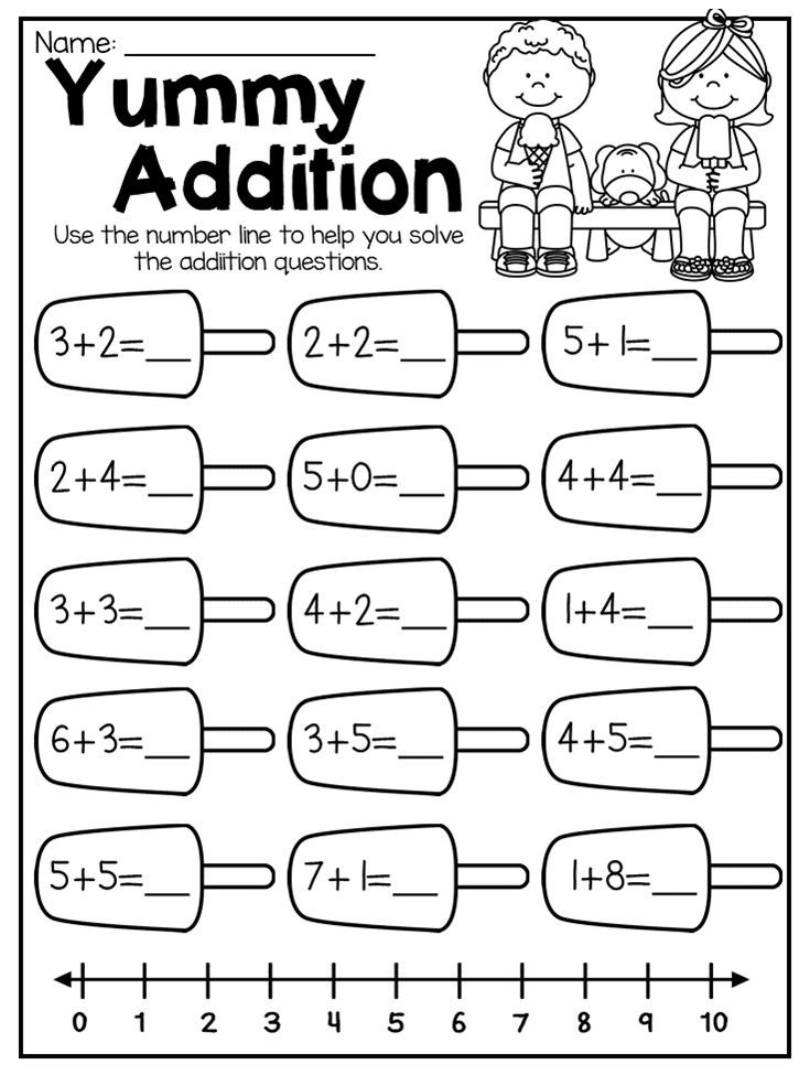 Summer Review Kindergarten Math and Literacy Worksheet