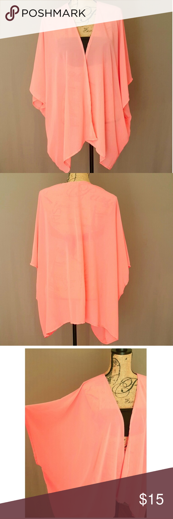 Sale! Sheer Salmon Kimono Cover up This cardigan was designed with ...