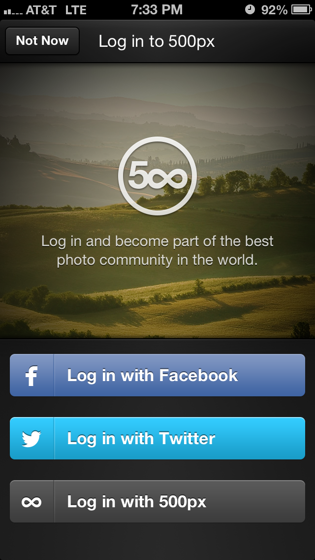 500px Sign-in / Sign-up.
