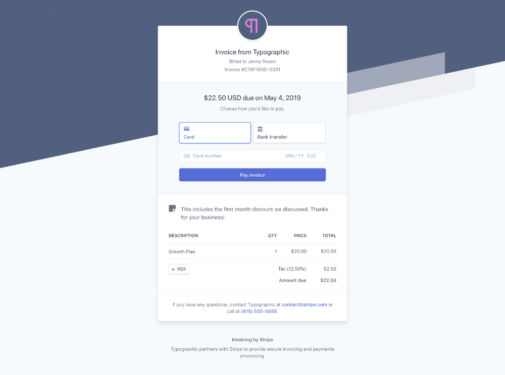 Hosted Invoice Page Stripe Billing Invoicing Card Transfer Form Example