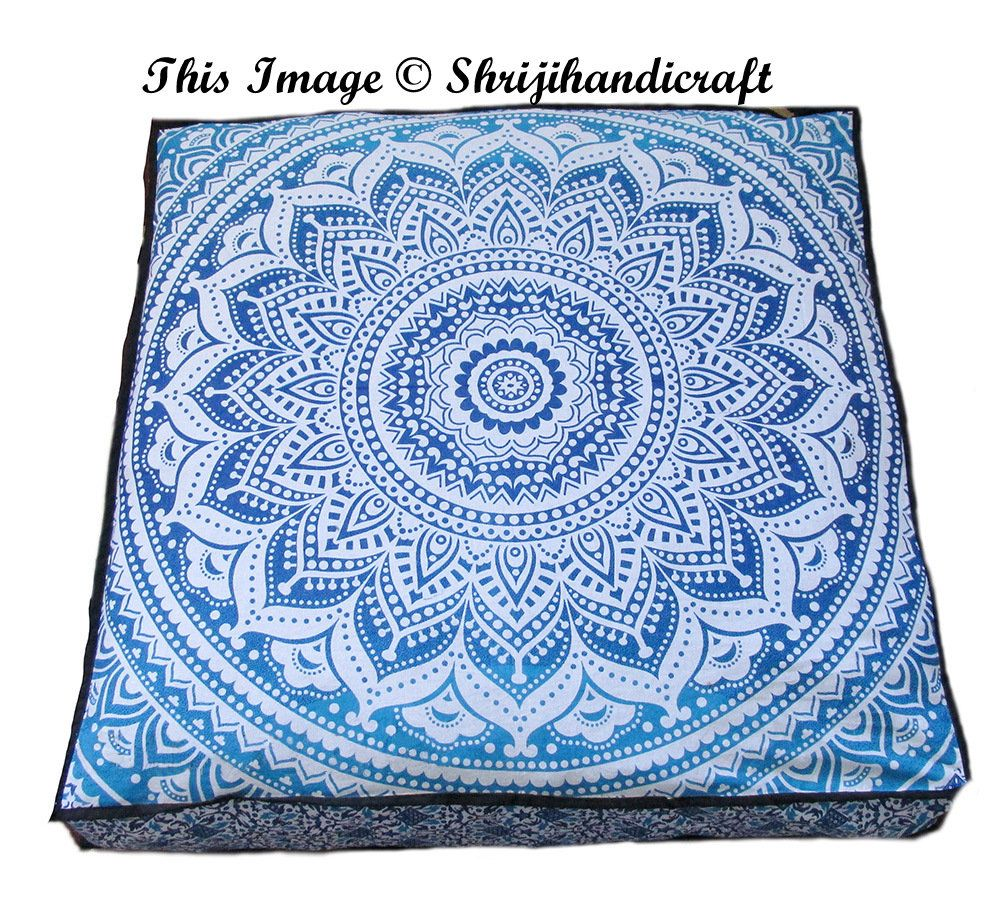 Indian Elephant Mandala Floor Pillow Round Hippie Meditation Cushion Cover Star