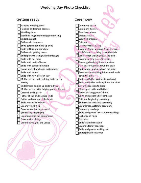 Photographer wedding day checklist wedding stuff Pinterest