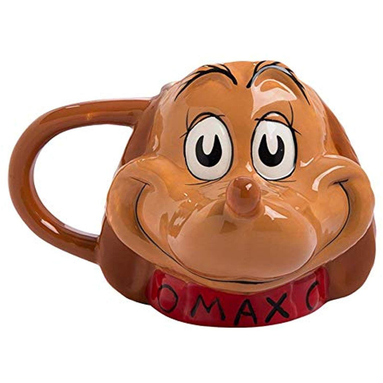 Dr. Seuss The Grinch Max Sculpted Ceramic Mug Dog XMas