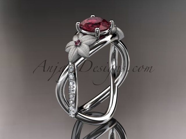 14kt white gold diamond leaf and vine birthstone ring adlr90 garnet januarys birthstone