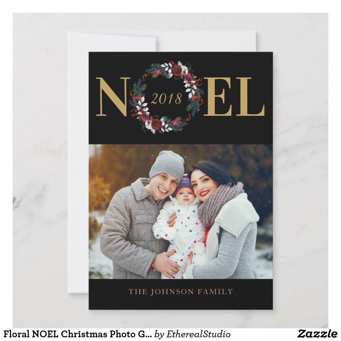 Floral Noel Christmas Photo Greeting Card Zazzle Com Christmas Photo Greeting Cards Holiday Design Card Christmas Photos