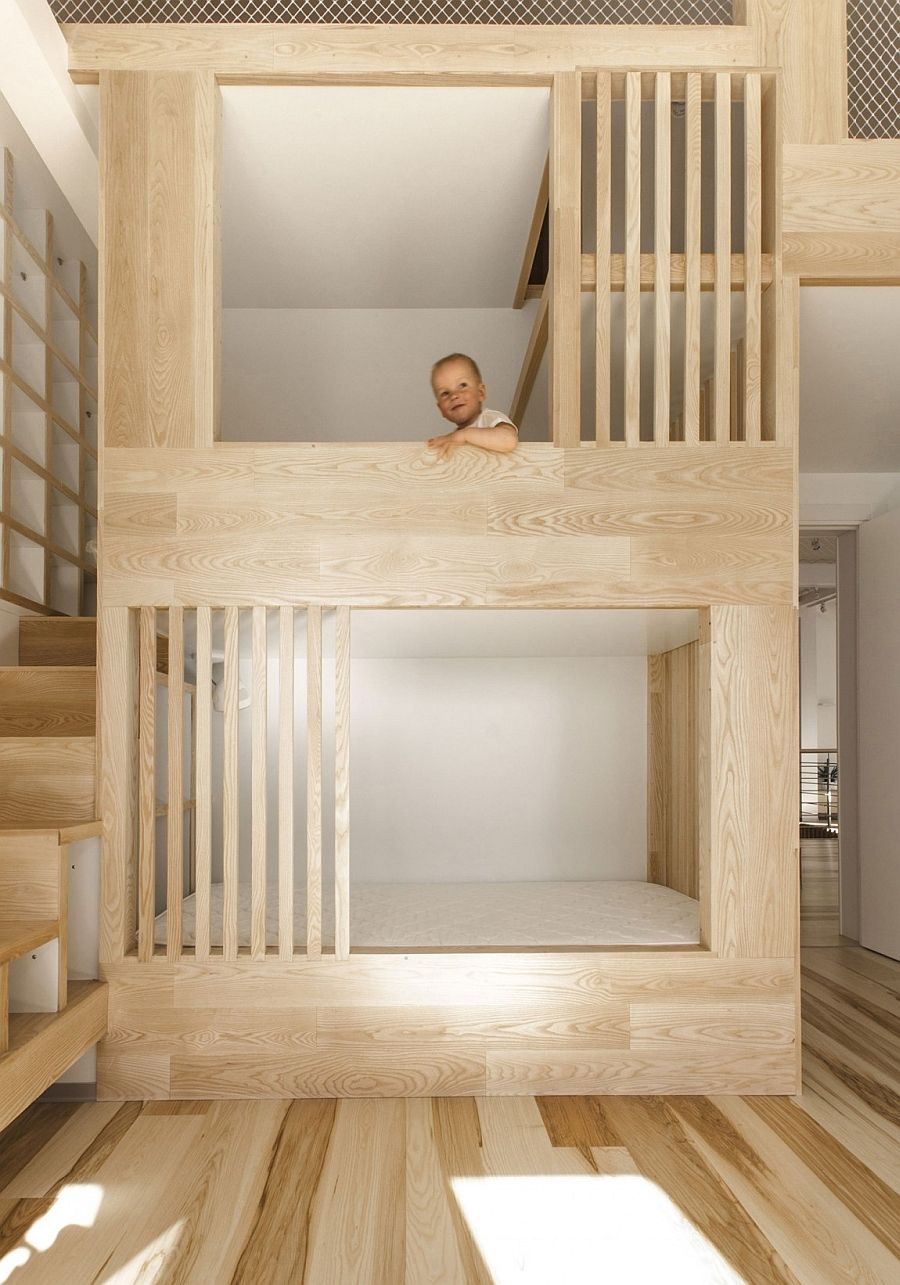 Large Wooden Structure With Bunk Beds For Kids Also Comes With