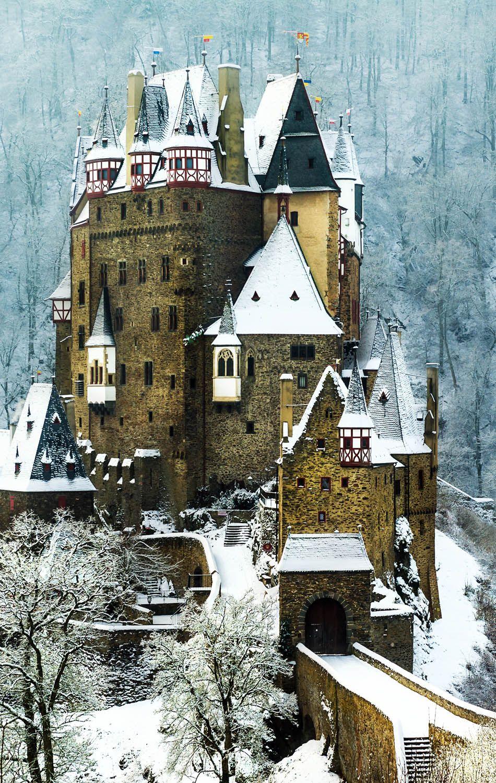 Winter shot of German Castle Burg Eltz   The 20 Most Stunning Fairytale Castles in Winter