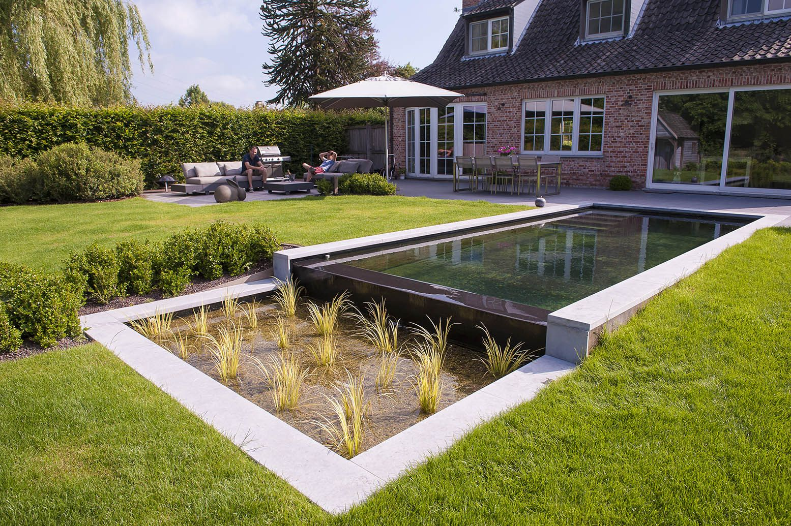 Tuinaanleg de pauw infinity zwemvijver natural swimming pools